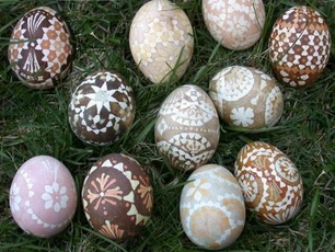 natural dyed Lusatian eggs