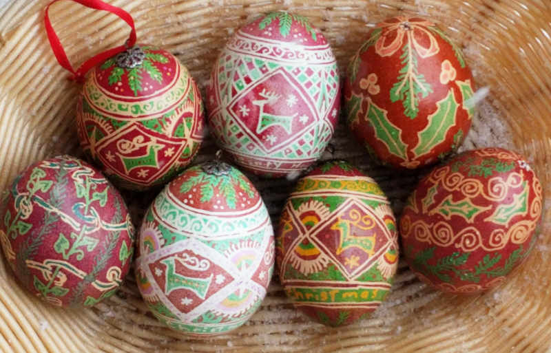 red & green Ukrainian style eggs