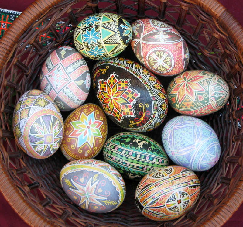 basket of Ukrainian style eggs